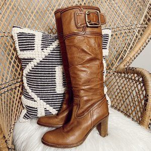 COACH brown leather knee high heeled boots